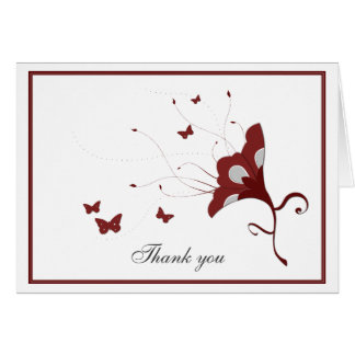 Cranberry Flower with Butterflies Thank You Card