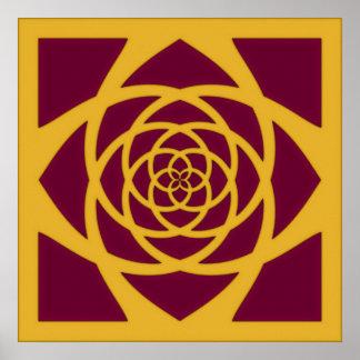Cranberry & Gold Mandala Poster