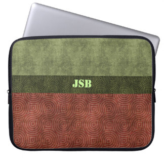Cranberry Green Retro Figure Eights Customizable Laptop Computer Sleeves