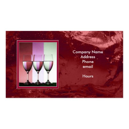 Vibrant  Red Cranberry Ice Background Wine Glasses Bartender Visiting Cards