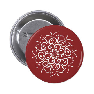 Cranberry Mandala Pinback Button