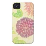 Cranberry & Orange Floral Print iPhone 4 Case