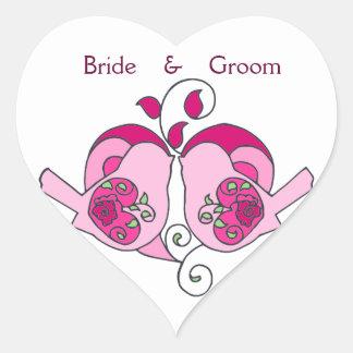 Cranberry, Pink Custom Bird Floral Heart Wedding Heart Sticker