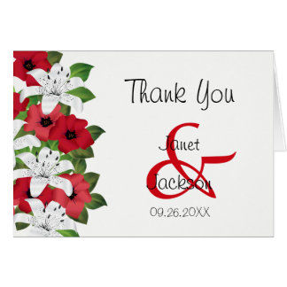 Cranberry Red and White Lilies - Thank You Card