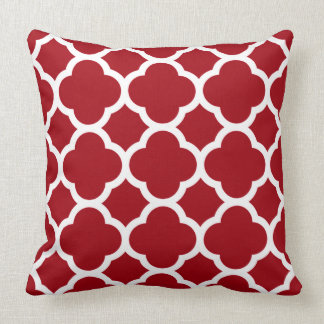 Cranberry Red and White Quatrefoil Pattern Throw Pillow
