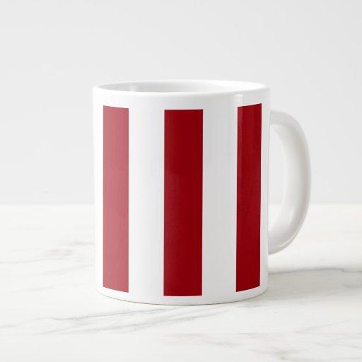 Cranberry Red and White XL Stripes Pattern Jumbo Mugs