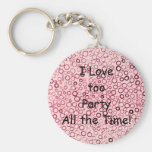Cranberry Red Circles Tiny Bubbles Keychain