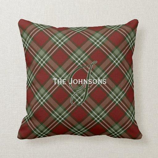 Red Tartan Plaid Throw Pillows : Cranberry red green white Christmas tartan plaid Throw Pillow Zazzle