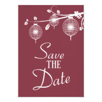 Cranberry Red Hanging Lanterns Save the Date Invitation
