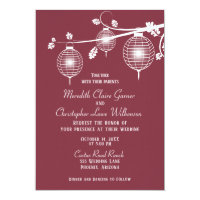 Cranberry Red Paper Lanterns Wedding Invitation