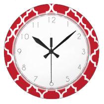 Cranberry Red Quatrefoil Pattern Large Clock
