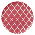 Cranberry Red Quatrefoil Tiles Pattern Plates