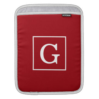 Cranberry Red White Framed Initial Monogram iPad Sleeve