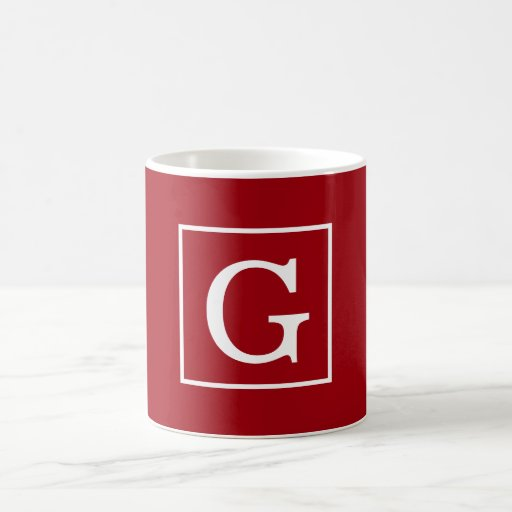 Cranberry Red White Framed Initial Monogram Coffee Mugs