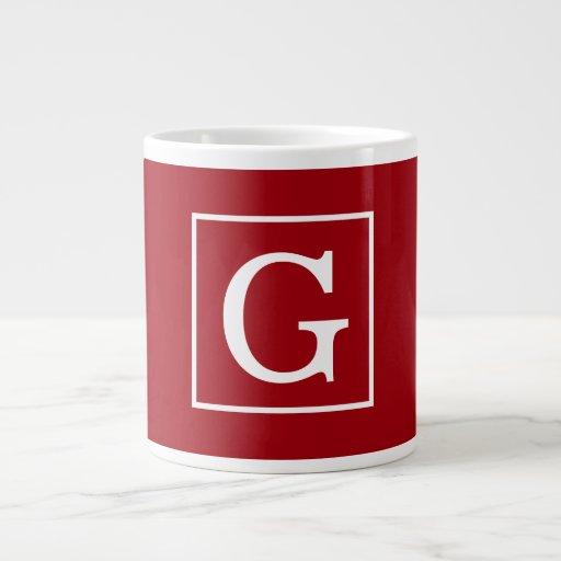 Cranberry Red White Framed Initial Monogram Jumbo Mug