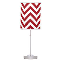 Cranberry Red White Large Chevron ZigZag Pattern Table Lamp
