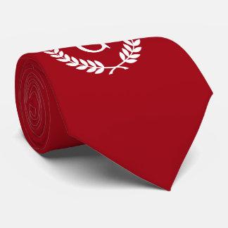Cranberry Red White Laurel Wreath Initial Monogram Neck Tie