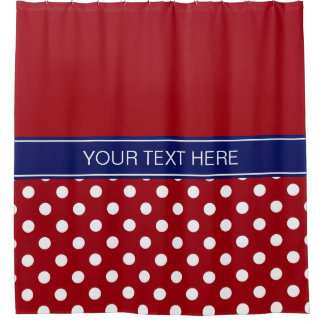 Cranberry Red White LG Dot Navy Blue Name Monogram Shower Curtain