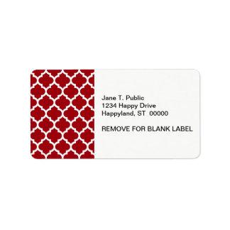 Cranberry Red White Moroccan Quatrefoil Pattern #5 Address Label