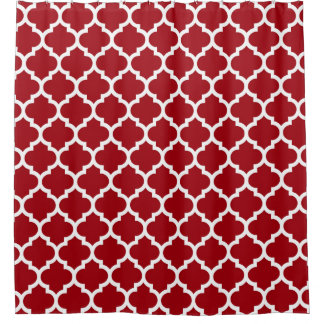 Cranberry Red White Moroccan Quatrefoil Pattern #5 Shower Curtain