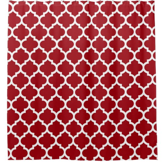Cranberry Red White Moroccan Quatrefoil Pattern 5 Shower Curtain