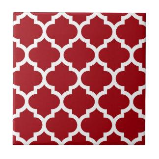 Cranberry Red White Moroccan Quatrefoil Pattern #5 Tile