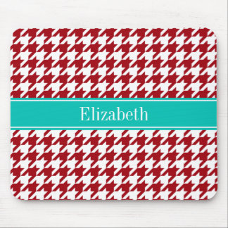 Cranberry Red Wht Houndstooth Teal Name Monogram Mouse Pad