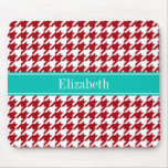 Cranberry Red Wht Houndstooth Teal Name Monogram Mousepads