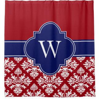 Cranberry Red Wht LG Damask #3 1ICBR Navy Monogram Shower Curtain