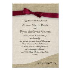 Cranberry Ribbon and Burlap Wedding Personalized Invitation