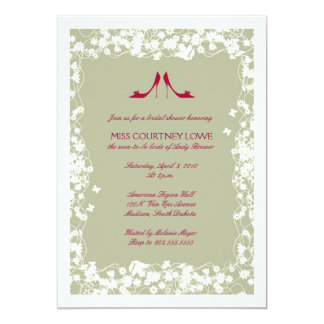 "Cranberry Shoes Bridal Shower Invitation 5"" X 7"" Invitation Card"