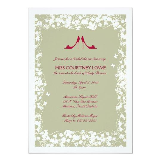 Cranberry Shoes Bridal Shower Invitation