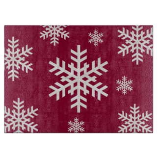 Snowflake Glass Cutting Board Cranberry Snowflake Glass