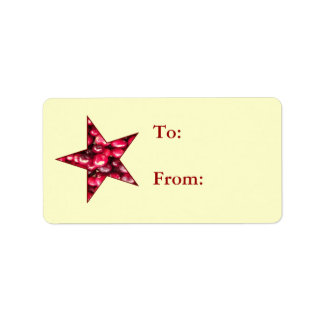 Cranberry Star Gift Tags Label