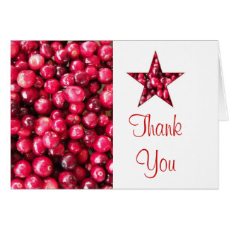 Cranberry Star Thank You Card