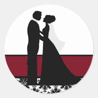 Cranberry Wedding Couple Seals Classic Round Sticker