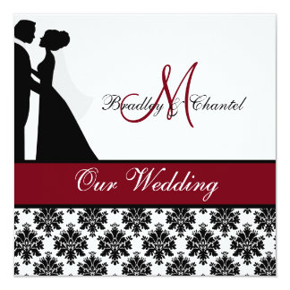 "Cranberry Wedding Couple Wedding Invitation 5.25"" Square Invitation Card"