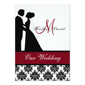 "Cranberry Wedding Couple Wedding Invitation 5"" X 7"" Invitation Card"