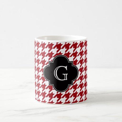 Cranberry Wht Houndstooth Blk Quatrefoil Monogram Mugs