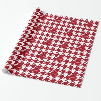 Cranberry Wht Houndstooth Cran Quatrefoil Monogram Wrapping Paper
