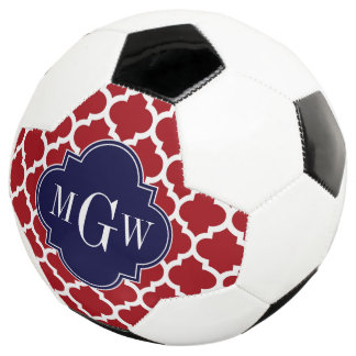 Cranberry Wht Moroccan #5 Navy 3 Initial Monogram Soccer Ball