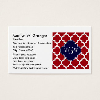 Cranberry Wht Moroccan #5 Navy Blue Name Monogram Business Card