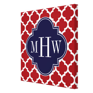 Cranberry Wht Moroccan #5 Navy Blue Name Monogram Stretched Canvas Print