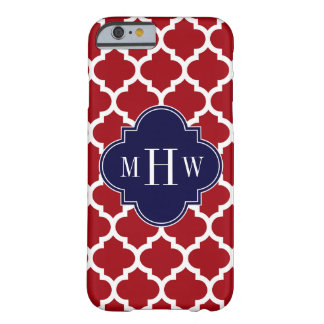 Cranberry Wht Moroccan #5 Navy Blue Name Monogram Barely There iPhone 6 Case