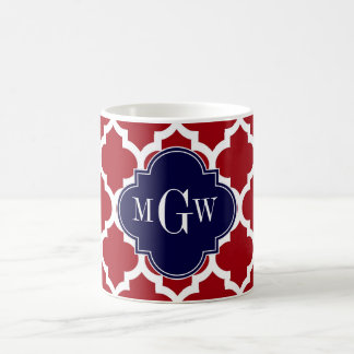 Cranberry Wht Moroccan #5 Navy Blue Name Monogram Coffee Mug
