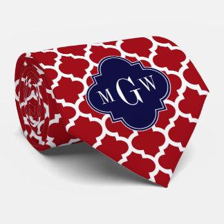 Cranberry Wht Moroccan #5 Navy Blue Name Monogram Neck Tie