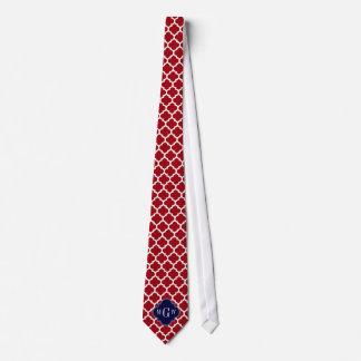 Cranberry Wht Moroccan #5 Navy Blue Name Monogram Tie
