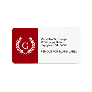 Cranberry Wht Wheat Laurel Wreath Initial Monogram Address Label