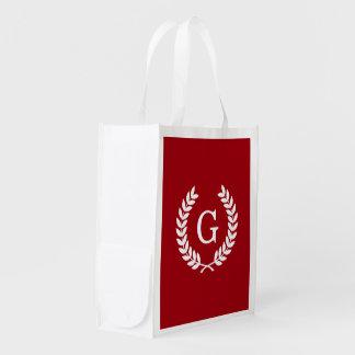 Cranberry Wht Wheat Laurel Wreath Initial Monogram Reusable Grocery Bag