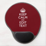 Cranberry Wine Burgundy Decor Keep Calm Your Text Gel Mouse Pad